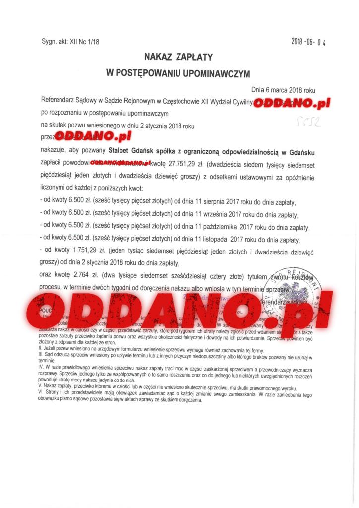 Stalbet Gdańsk-ostrożność przy dawaniu towaru i usług na termin płatności